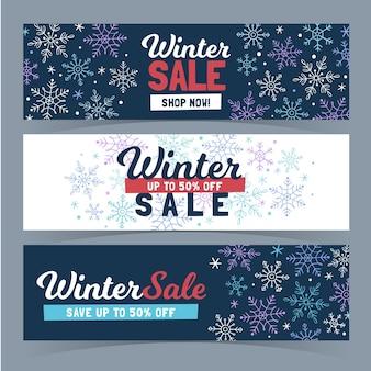 Conjunto de banners de venda de inverno desenhados