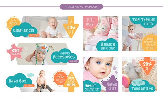 Conjunto de banners de venda de loja de bebê
