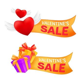Conjunto de banners de venda de marketing, dia dos namorados, comemorando com um coração voador com asas de anjo e uma caixa de presente embrulhada em fita dourada isolada em um fundo branco