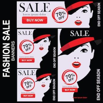 Conjunto de banners de venda de moda