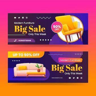 Conjunto de banners de venda de móveis gradientes