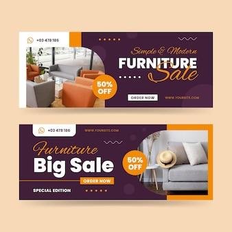 Conjunto de banners de venda de móveis planos