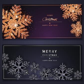 Conjunto de banners de venda de natal feitos de flocos de neve pretos e dourados brilhantes. fundos de feliz natal com flocos de neve brilhantes. ilustração