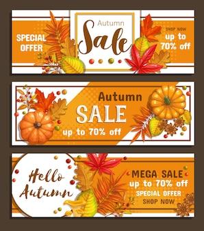Conjunto de banners de venda de outono com folhagem de bordo de outono