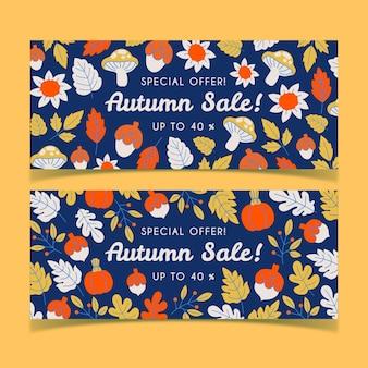 Conjunto de banners de venda de outono desenhados à mão