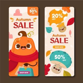 Conjunto de banners de venda de outono em desenho animado