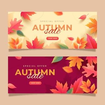 Conjunto de banners de venda de outono gradiente