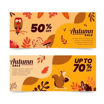 Conjunto de banners de venda de outono planos horizontais desenhados à mão