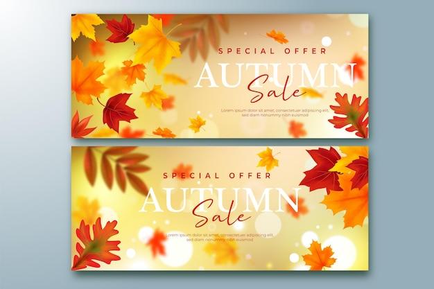 Conjunto de banners de venda de outono realistas
