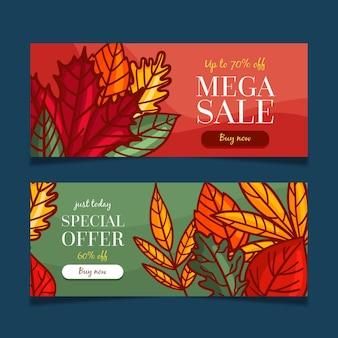 Conjunto de banners de venda de outono