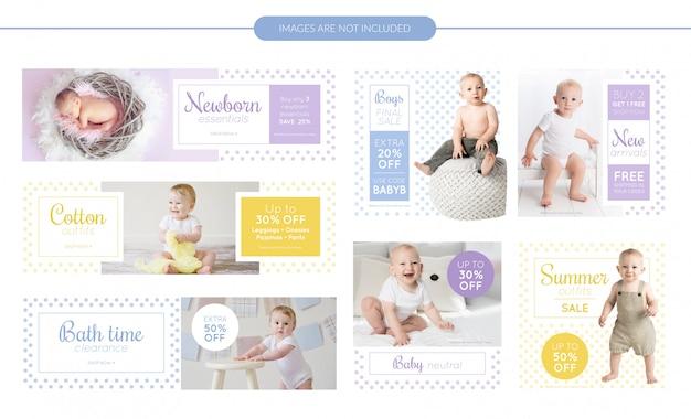Conjunto de banners de venda de roupas de bebê