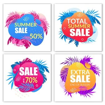 Conjunto de banners de venda de verão com elementos de estilo doodle