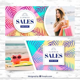 Conjunto de banners de venda de verão com foto
