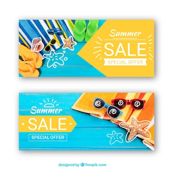 Conjunto de banners de venda de verão com fotografia
