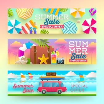 Conjunto de banners de venda de verão férias, férias e plano de fundo de viagens