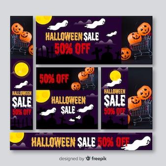 Conjunto de banners de venda de web de halloween com foto