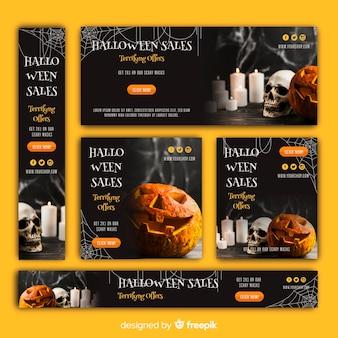 Conjunto de banners de venda de web de halloween com imagem