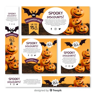 Conjunto de banners de venda de web de halloween