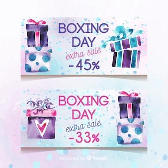 Conjunto de banners de venda do dia de boxe