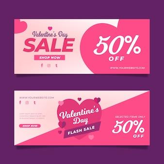 Conjunto de banners de venda do dia dos namorados