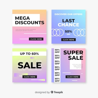 Conjunto de banners de venda gradiente modernos para mídias sociais