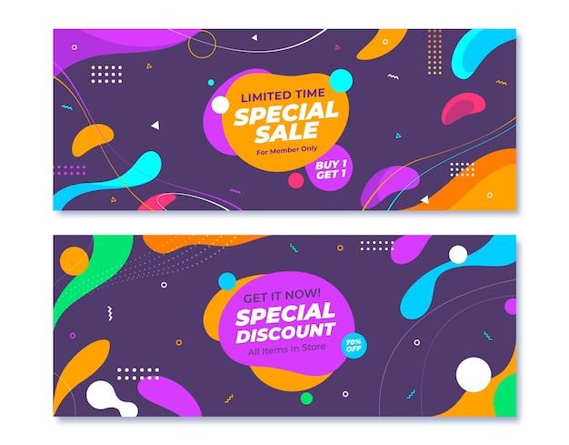 Conjunto de banners de venda horizontal abstratos e planos