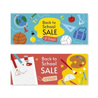 Conjunto de banners de venda horizontal atraídos de volta para a escola