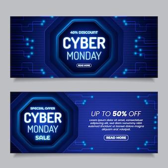 Conjunto de banners de venda horizontal cibernética e realista de segunda-feira