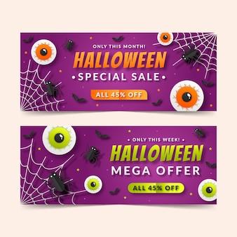 Conjunto de banners de venda horizontal de halloween em papel