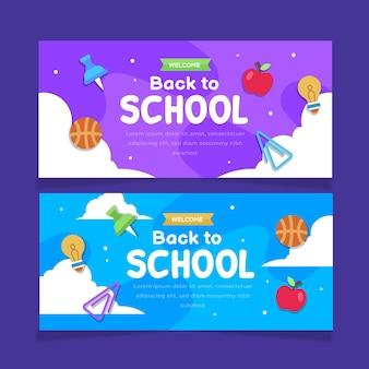 Conjunto de banners de venda horizontal de volta às aulas