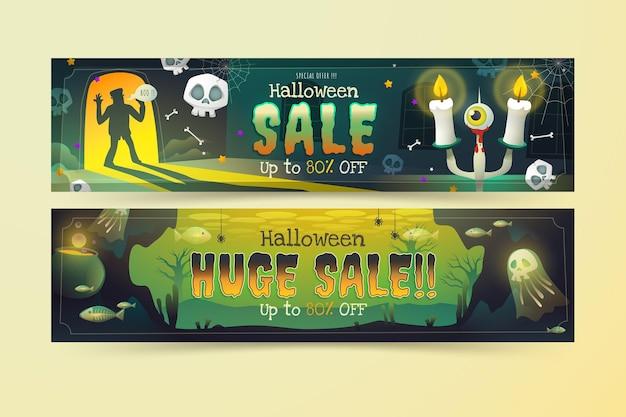 Conjunto de banners de venda horizontal gradiente de halloween