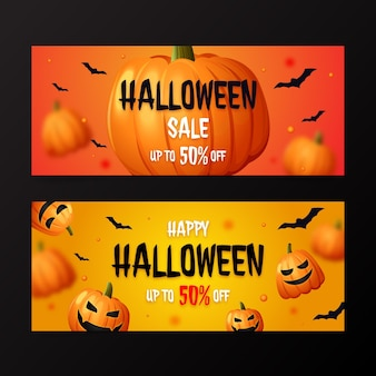 Conjunto de banners de venda horizontal realista de halloween