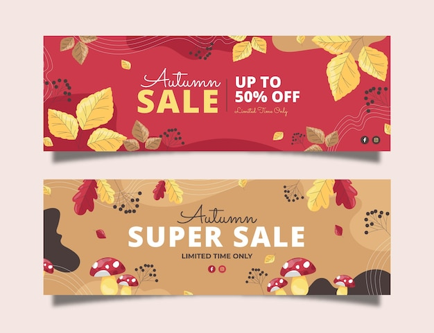 Conjunto de banners de venda plana de outono