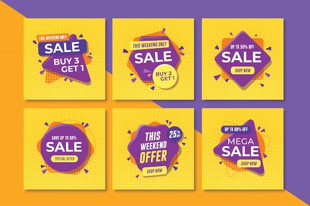 Conjunto de banners de venda quadrada para mídias sociais