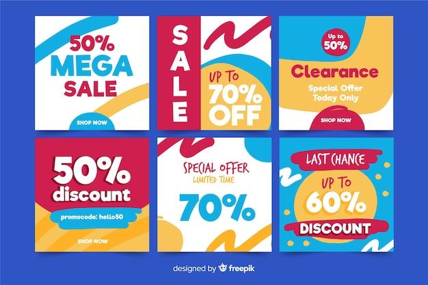 Conjunto de banners de venda quadrados para promoção no instagram ou mídias sociais