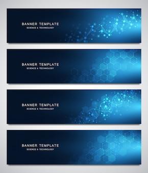 Conjunto de banners de vetor científico e tecnológico