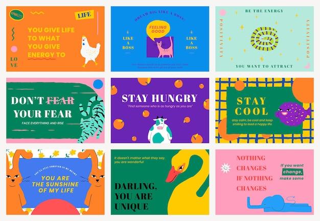 Conjunto de banners de vetor de modelo de citação motivacional com ilustração de animais fofos