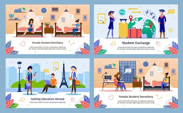 Conjunto de banners de vetor plana de programa de intercâmbio de estudantes