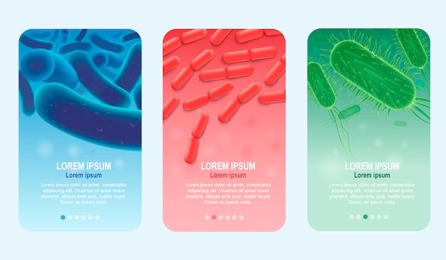Conjunto de banners de vetor realista de probióticos verticais