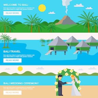 Conjunto de banners de viagens de bali