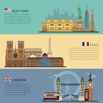 Conjunto de banners de viagens horizontais - nova york, paris e londres