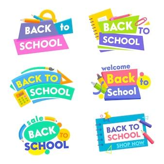 Conjunto de banners de volta às aulas