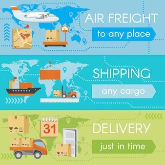 Conjunto de banners de web de entrega. transporte de serviço, avião de carga, embarque e embarque,
