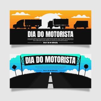 Conjunto de banners dia do motorista