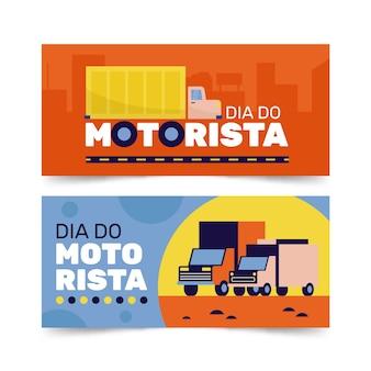 Conjunto de banners dia para motoristas