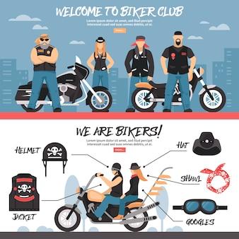 Conjunto de banners do clube do motociclista