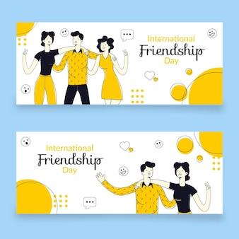 Conjunto de banners do dia da amizade internacional desenhada