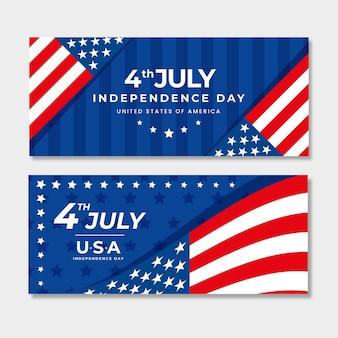 Conjunto de banners do dia da independência do apartamento de 4 de julho
