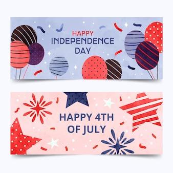 Conjunto de banners do dia da independência pintada à mão em aquarela de 4 de julho