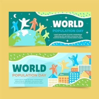 Conjunto de banners do dia da população mundial